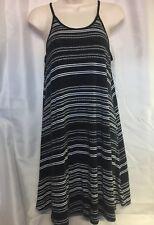 Old Navy Women's Midi Knit Dress Black White Sleeveless Dress Medium