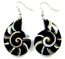 SPIDER WEB CONE SHELL & SHIVA EYE earrings ; CA088