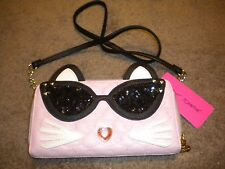 Betsey Johnson pink cat clutch wallet w/strap & ziparound with ears & tail! NWT