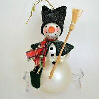 "Blown Glass Snowman Christmas Ornament 5.5"" Fabric Hat Scarf Original Box"