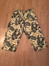 Women's Marsh Landing Yellow /Green / Black floral capri Drawstring pants Size M