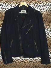 Levis men's M black wool (not leather) biker motorcycle jacket zippered flaps