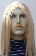 Longue Blonde perruque robe fantaisie & dark blond moustache. autocollante. UK DIP
