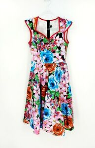Grace Karin Bright Floral 50's Pin Up Rockabilly Fit & Flare Size S As New
