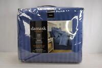 Damask Stripe, Twin Reversible Comforter Set, 500 Thread Count, Blue Jean Color