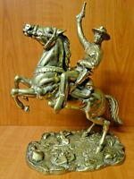 B15 - RARE STUNNING LARGE VINTAGE HEAVY BRASS DETAILED COWBOY on HORSE - 2.8kg