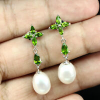 Unheated Pear Green Chrome Diopside 5x3mm Pearl 925 Sterling Silver Earrings