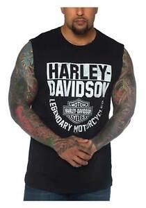 Harley-Davidson Men's H-D Bar & Shield Sleeveless Cotton Muscle Tee - Black