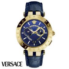 Versace VEBV00219 V-Race gold blue Leather Men's Watch NEW
