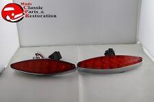 Custom Chrome Red Cat's Eye Tail Lamp LED Lights Hot Rat Street Rod Flush Mount
