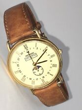 Rare Movado MUSEUM CLASSIC Triple Date Calendar Moon Phase Gold Swiss Watch