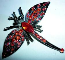 STUNNING UNUSUAL VINTAGE RETRO RED CRYSTAL DRAGONFLY BROOCH