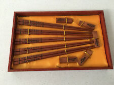 4 Pairs of Genuine Chinese Wood Chopsticks with holders and decorative box