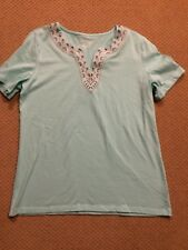 Women's Coral Bay Blue Embroidered Top Size Large