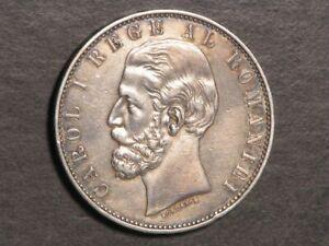 ROMANIA 1883B 5 Lei Silver Crown XF