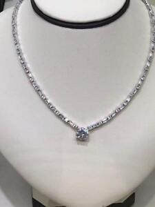 Platinum Sterling Silver White Sapphire Halo Round Stone Bridal Tennis Necklace