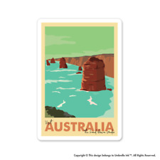 Visit Australia Vintage Australian Sticker Made Flag Decals Bumper Car