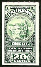 california us distilled spirits liquor tax revenue pink back stamp mnh/nh vf
