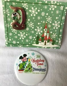 """Disneyland """"D"""" 2016 Holiday Time Guided Tour Pin + Name Button Mickey Mouse"""
