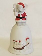 Christmas Mouse Mice Porcelain Ceramic Hand Bell Collectible