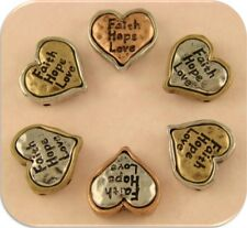 2 Hole Beads Hearts Engraved Faith Hope Love 3T Silver Copper Gold Sliders QTY 6