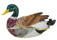 Duck Enamelled, Jewelled Trinket Box or figurine Approx 4.5cm high