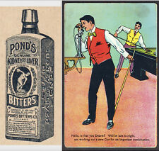 Antique Billiard Ponds Bitters Bottle Pool Hall Telephone Advertising Trade Card