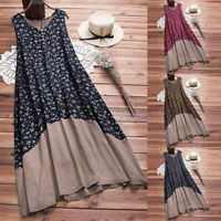 US Women Vintage Patchwork Casual Loose Boho Long Plus Size Retro Maxi Dresses