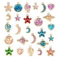 10Pcs//Set Enamel Alloy Flower Charm Pendant Jewelry Findings Diy Craft Makindx55