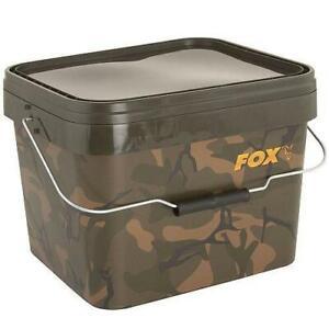 Fox Camo Square Bucket - 5l Litre NEW Carp Fishing Bait/Water Bucket - CBT005