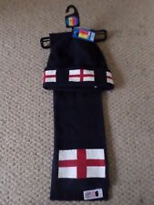 NEW M&S KIDS BOYS NAVY BLUE ENGLAND FLAG HAT & SCARF SET 8-9 YEARS RRP:£12