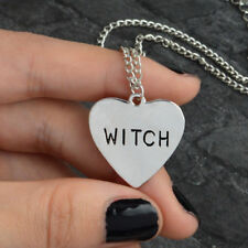 Halloween Heart-Shaped Witch Pendant Necklace Wiccan Alloy Jewelry Gift Unisex L