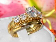 Yellow Gold Plated Round Stone Costume Rings