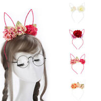 HN- KE_ KF_ Women Girl Lovely Rabbit Ears Hair Head Band Flower Headband Accesso