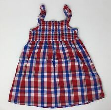 Girls Plaid Sundress Size 24M Red White and Blue 100% Cotton