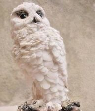 Rare Antique Wooden Wood Hand Carved White Snow Owl Figurine Figure Statue