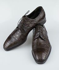 New BRIONI Brown Crocodile Leather Oxford Dress Shoes Size 10 US 43 EU