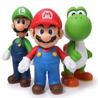 3 Pcs/Set Super Mario Bros Mario Yoshi Luigi PVC Action Figure Model Toy