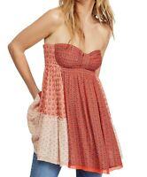 Free People Women's Top Red Size Small S Colorblock Strapless Tunic $98 #526