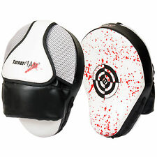 TurnerMAX Boxing Focus Pads Punch Mitts White Black Blood Curved