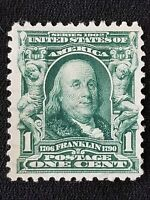 Benjamin Franklin Us Postage 1 Cent Stamp 1902 Green Well Centered Used lightly