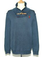 "Mens Desigual Shawl Neck Jumper Blue Cotton Size XL Chest 46"" £109"