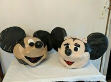 Pair Vtg Mickey Minnie Mouse Paper Mache Costume Halloween Parade Head Masks