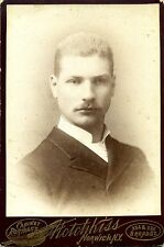 Cabinet Card Portrait Handsome Young Man w/Moustache – Hotchkiss, Norwich NY
