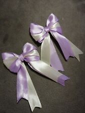 Pack Of 2 Luxury Lilac And White Double Bows Decoration Gift