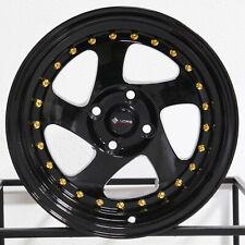 "4-New 15"" Vors VR2 Wheels 15x8 4x100 20 Black Rims"