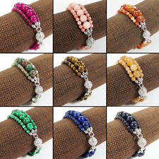 3 Layers Natural Gemstone Beads Bracelet Magnetic Crystal Ball Connector