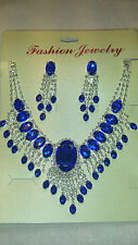 Blue Diamante Rhinestone crystal Necklace & earrings set wedding prom