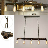 Vintage Industrial Steampunk iron pipe light Ceiling Pendant chandelier Light UK