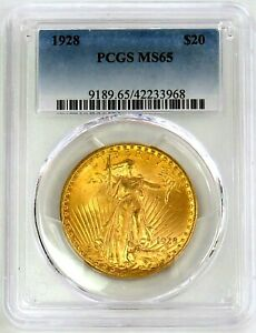 1928 GOLD UNITED STATES $20 SAINT GAUDENS DOUBLE EAGLE COIN PCGS MINT STATE 65